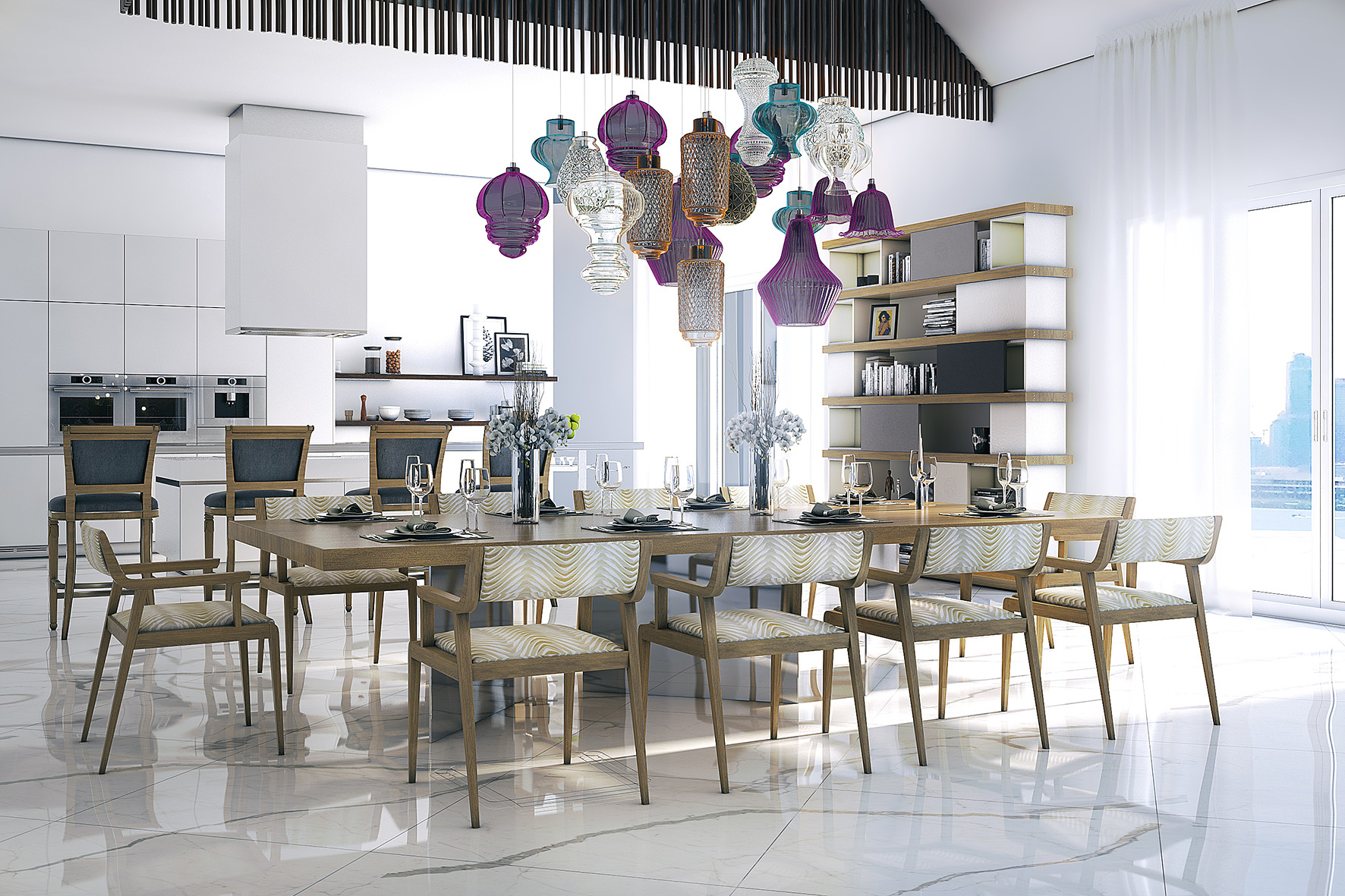 modern dining table, contemporary dining tables, floating dining table